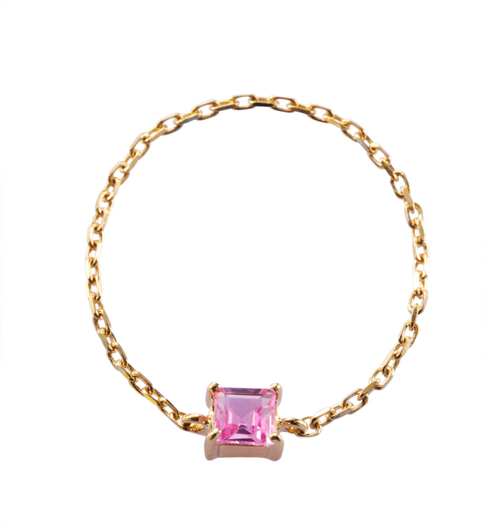 Pink Sapphire Chain Ring