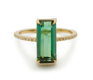 Green Tourmaline & Diamond Deco Ring