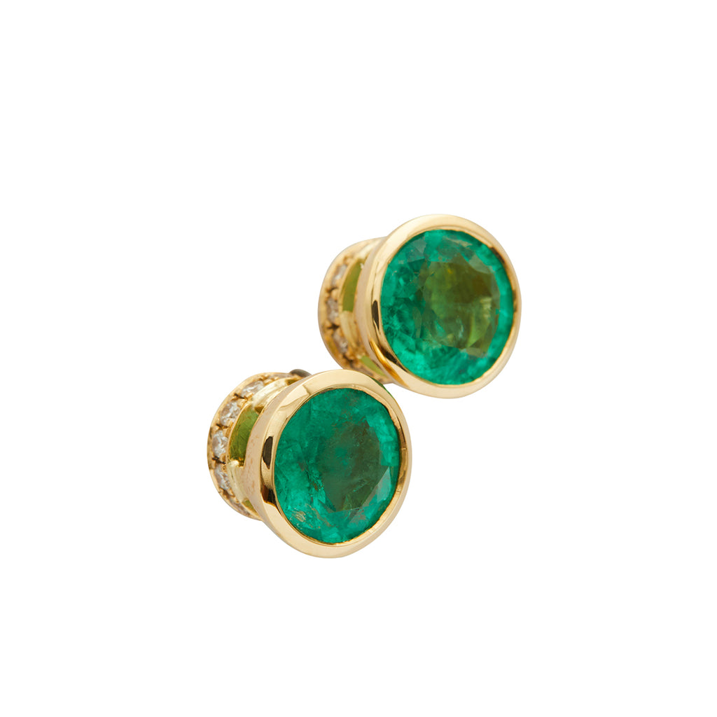 Round Emerald Secrects Studs