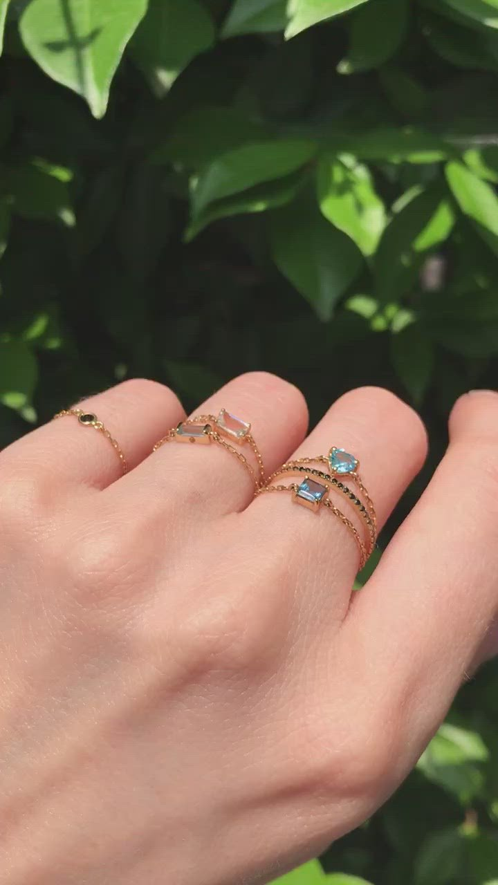 Aquamarine Baguette Chain Ring