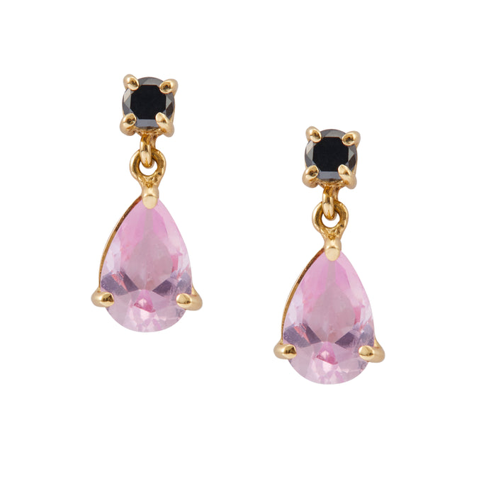 Pink Topaz & Black Diamond Earrings