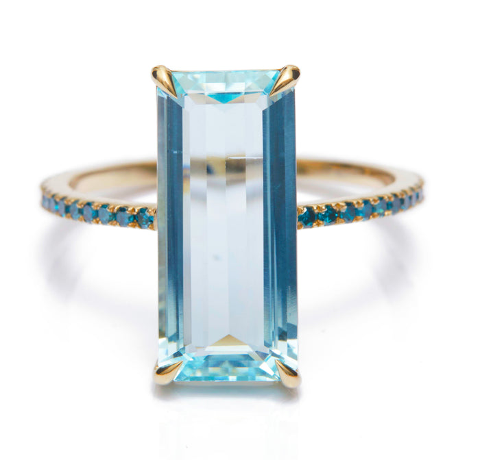 Aquamarine & Blue Diamond Oceans Ring