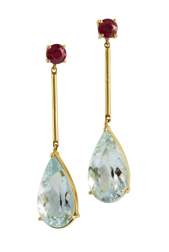 RUBY & AQUAMARINE RAINDROP EARRINGS