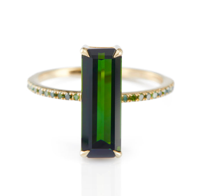 Tourmaline & Green Diamond Ring
