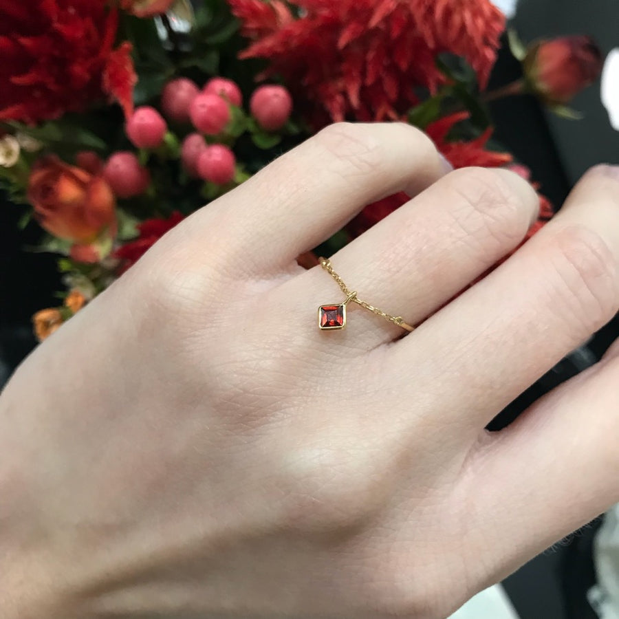 Yi Collection x Opening Ceremony January Garnet half chain ring