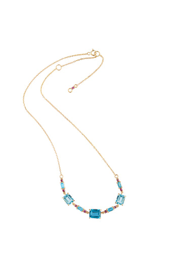 Topaz & Ruby Deco necklace