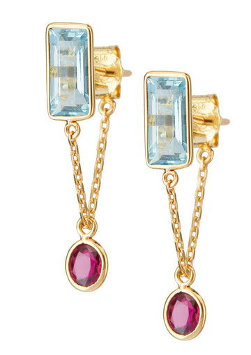 Aquamarine & Ruby Chain Earrings