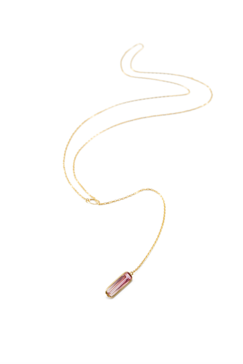Pink Tourmaline Lariat Necklace