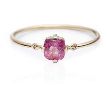 Pink Spinel Petite Circle Ring
