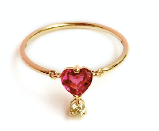 Pink Spinel & Diamond love Ring