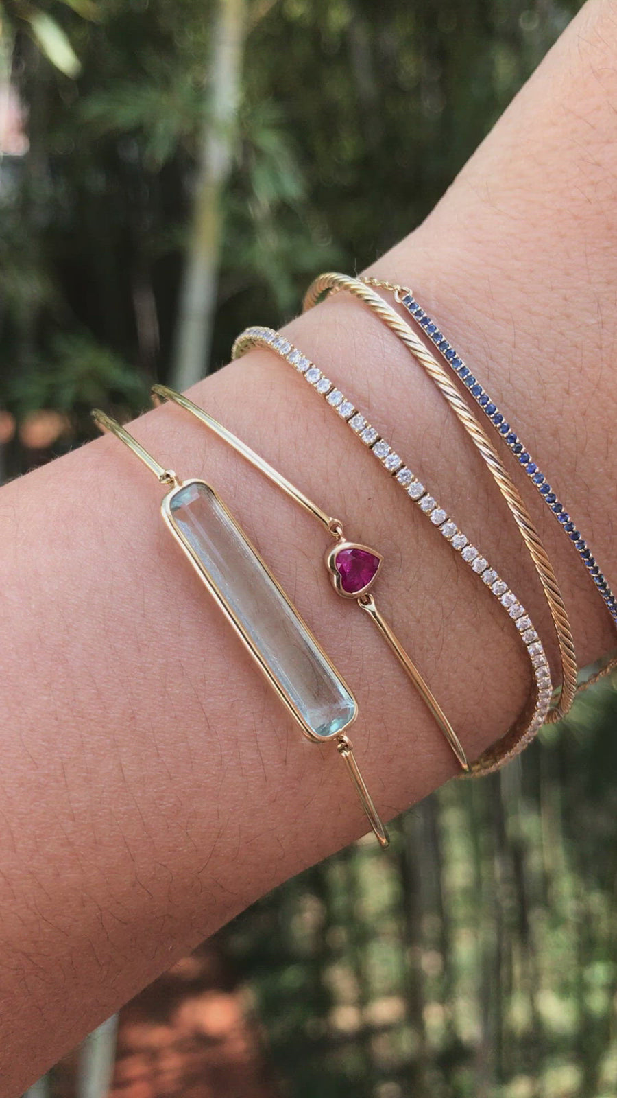 Ruby Heart Bangle