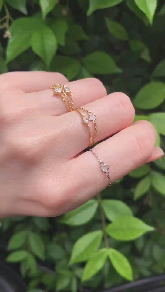 Petite Diamond Baguette Chain Ring