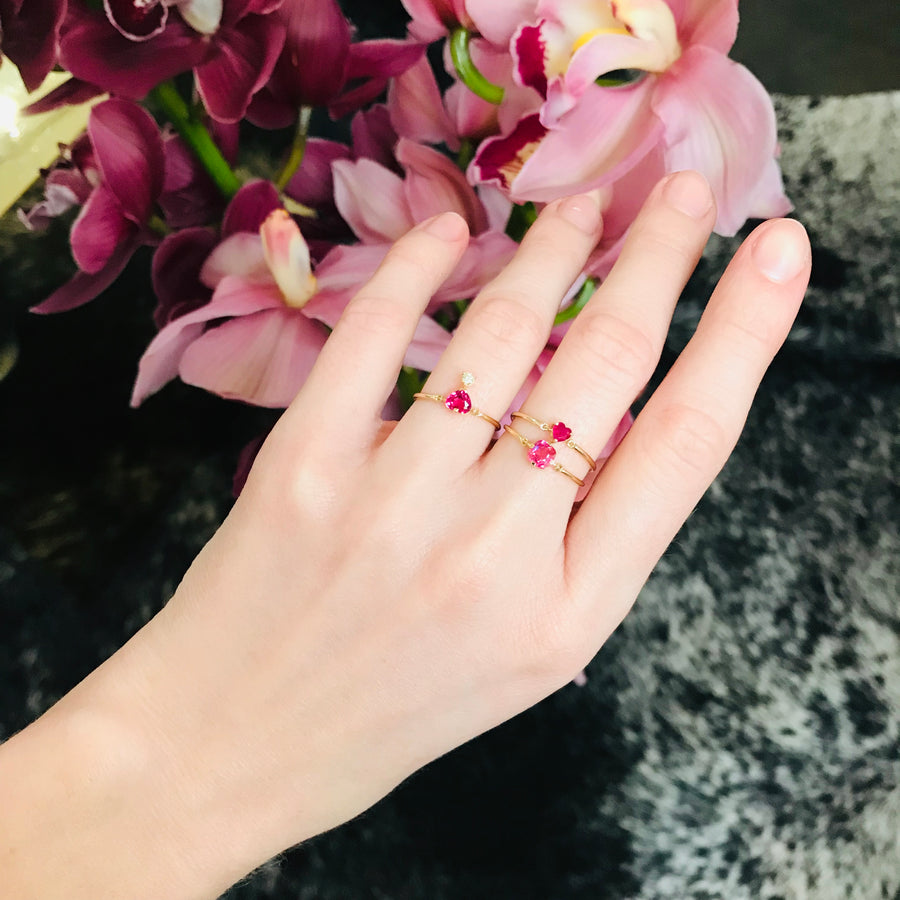 Ruby Heart Petite Circle Ring
