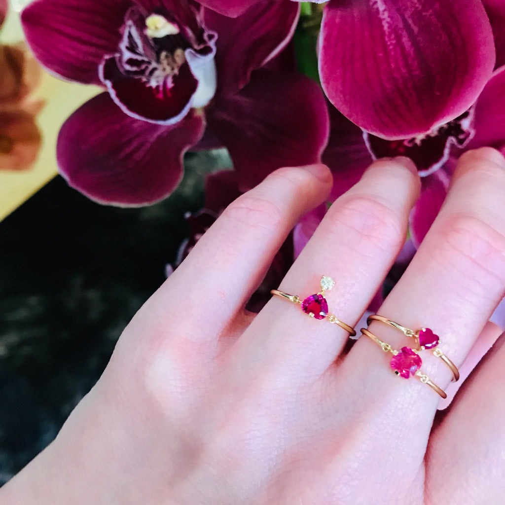Pink Spinel & Canary Yellow Diamond Ring