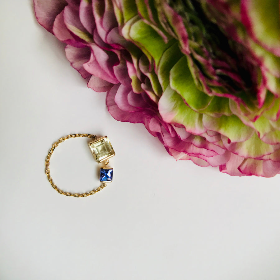 Lemon Quartz & Tanzanite Chain Ring