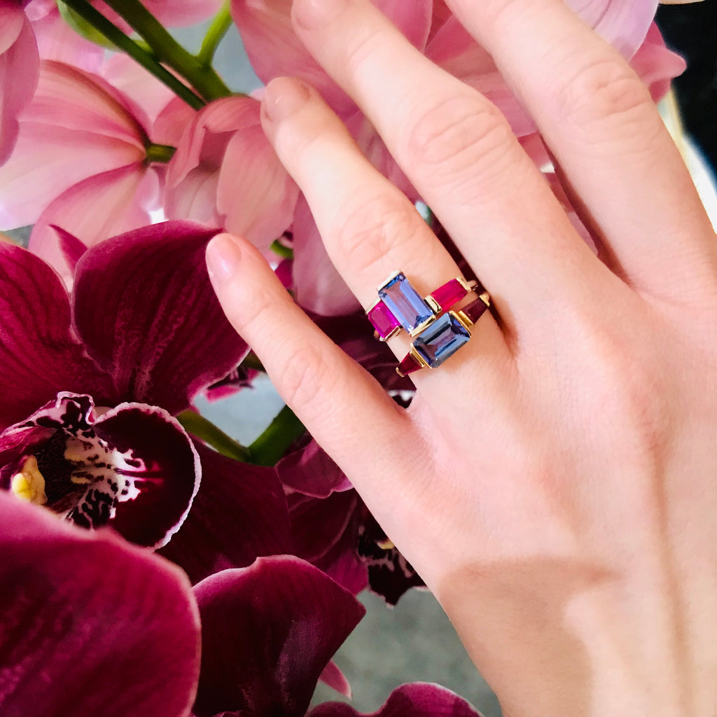 Tanzanite & Ruby Puzzle Ring