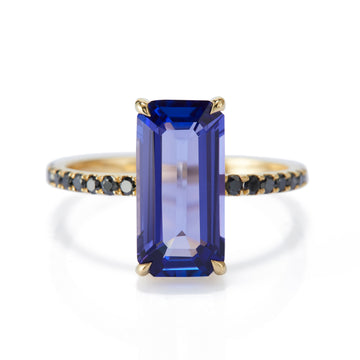 Tanzanite & Black Diamond Ring