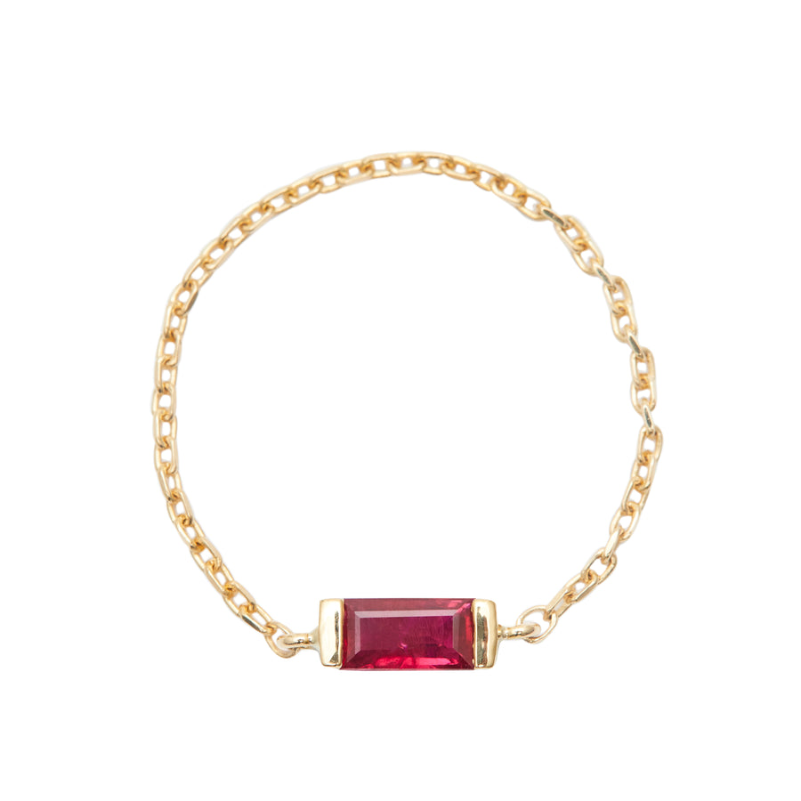 Ruby baguette chain ring