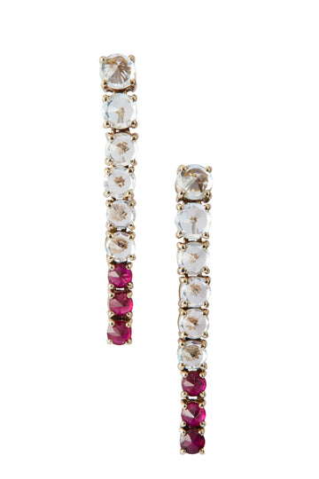 WHITE SAPPHIRE & RUBY DREAM LINKS earrings