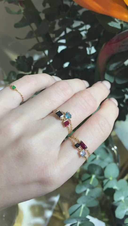 Sapphire & Ruby Chain Ring