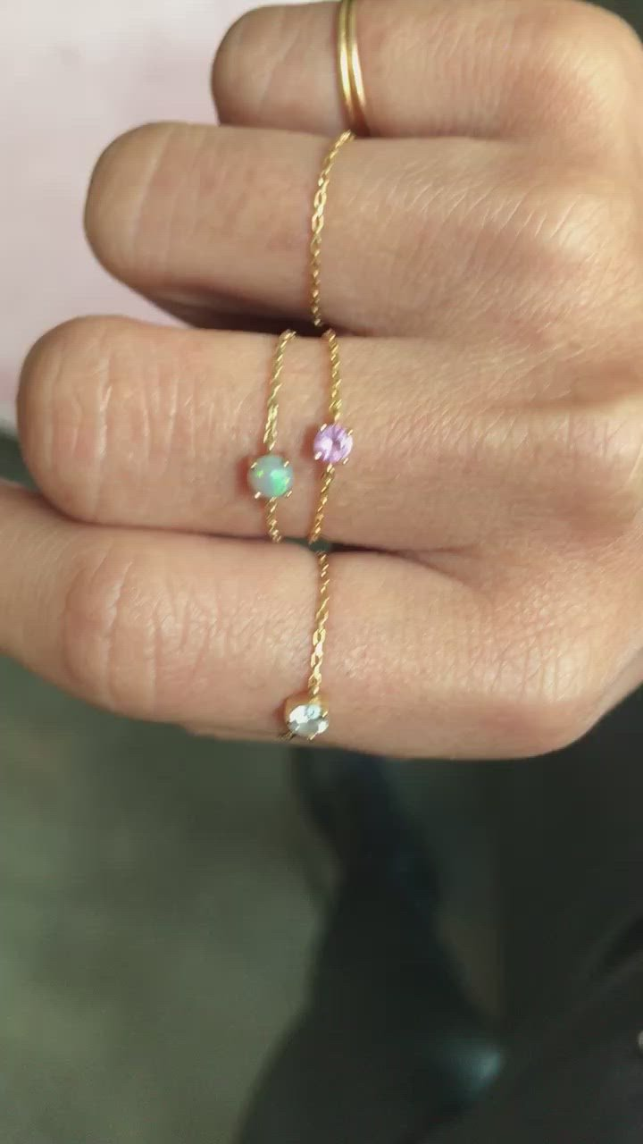 Pink Sapphire Dot Chain Ring