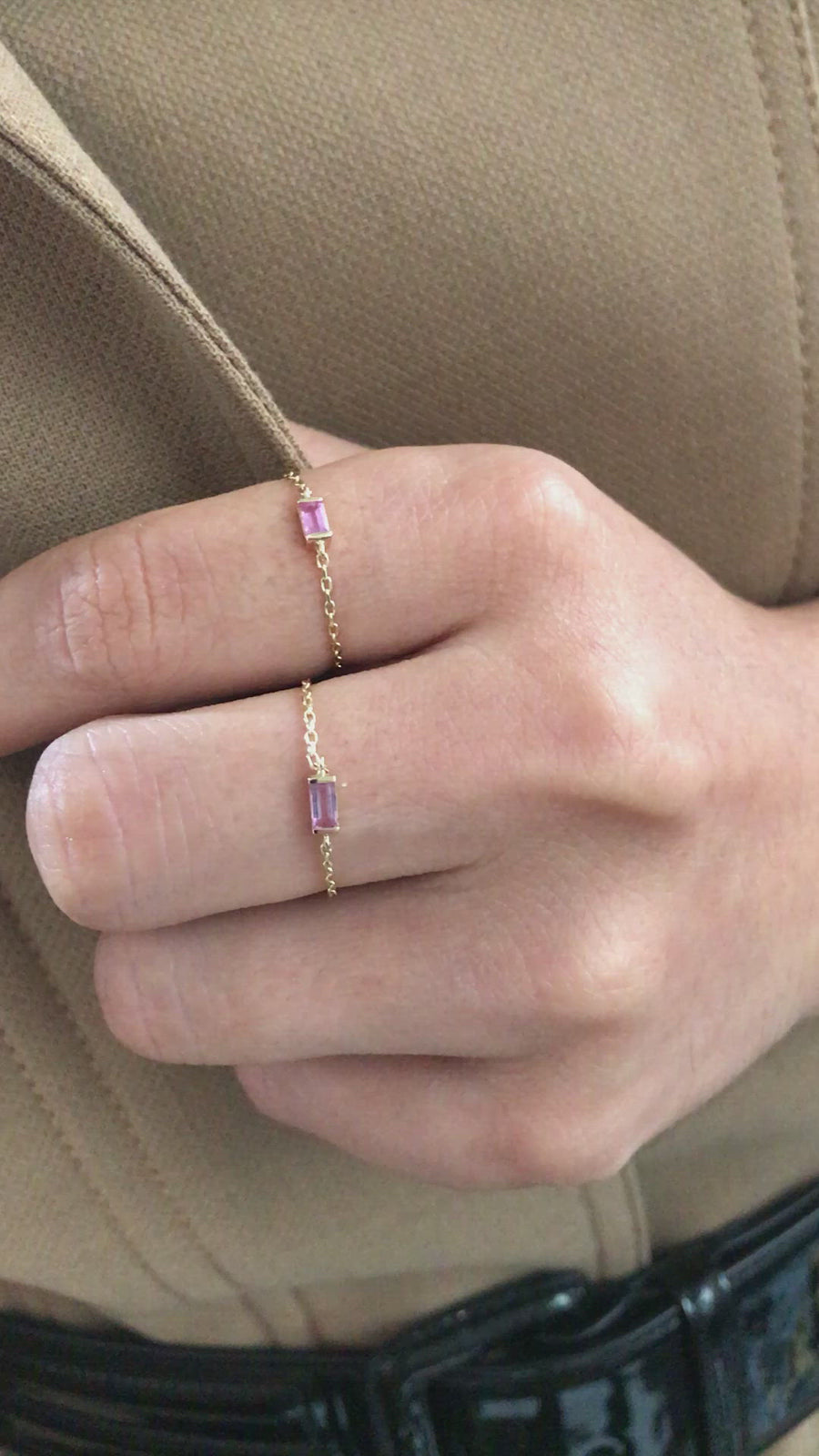 Pink Sapphire Petite Baguette Chain Ring
