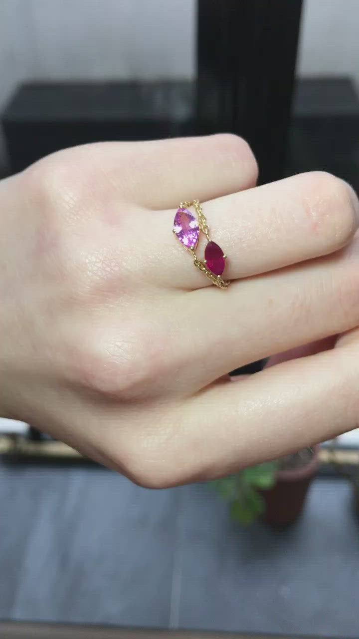 Pink Sapphire Marquise Supreme Chain Ring