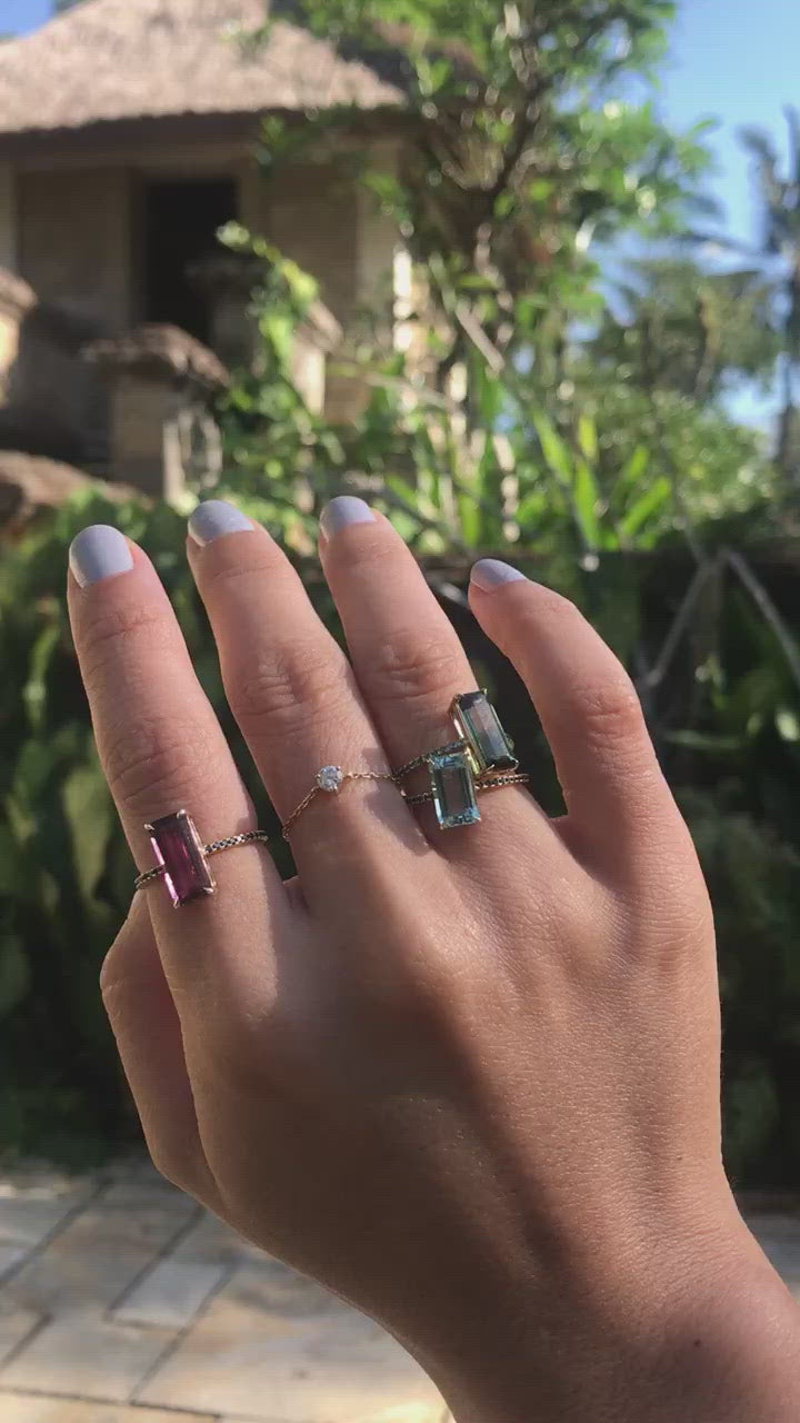 Tourmaline & Black Diamond Ring