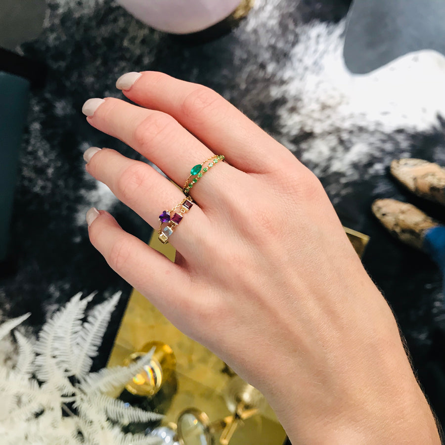 AMETHYST HEART CHAIN RING