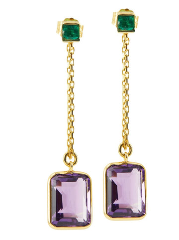 Emerald & Amethyst Earrings