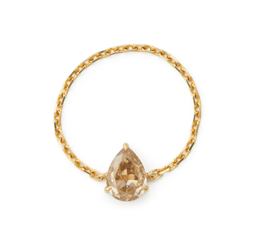 Cognac Diamond Pear Supreme Chain Ring