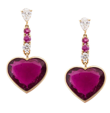 Diamond, Rubellite & Ruby Heart Earrings