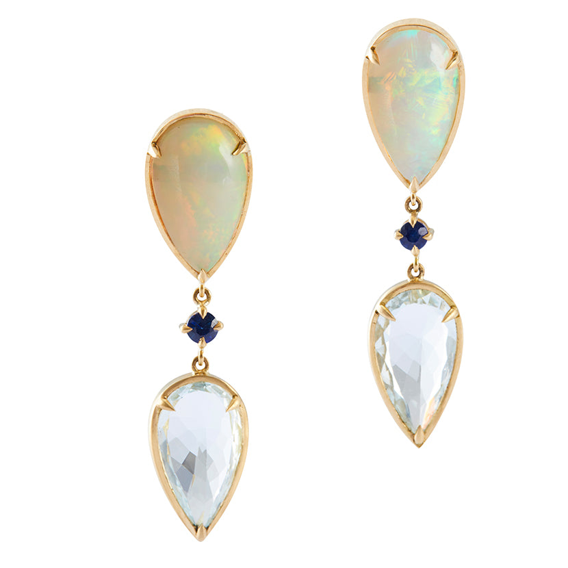 Opal & Aquamarine dewdrop Earrings