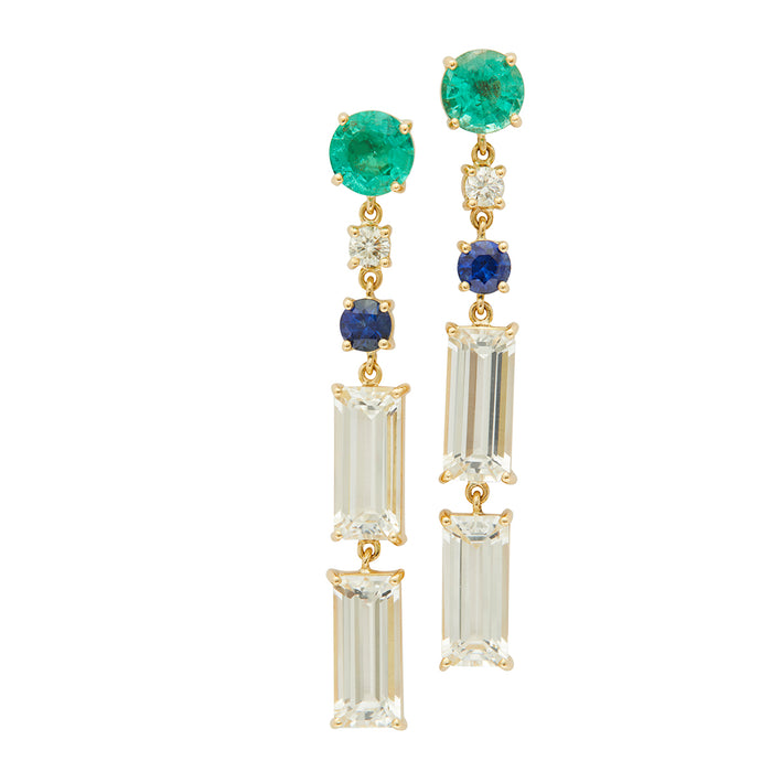 Emerald Diamond Sapphire & White Topaz Shanghai Nights Earrings