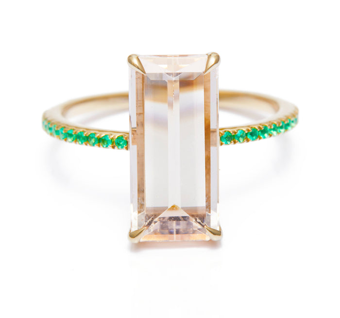Morganite & Emerald Spring Ring