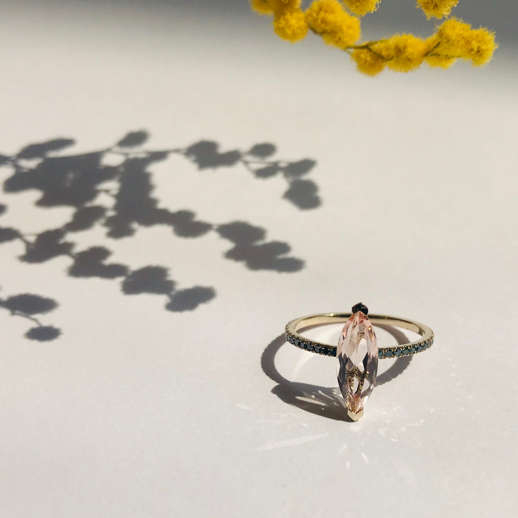 Morganite & Blue Diamond Charm Ring