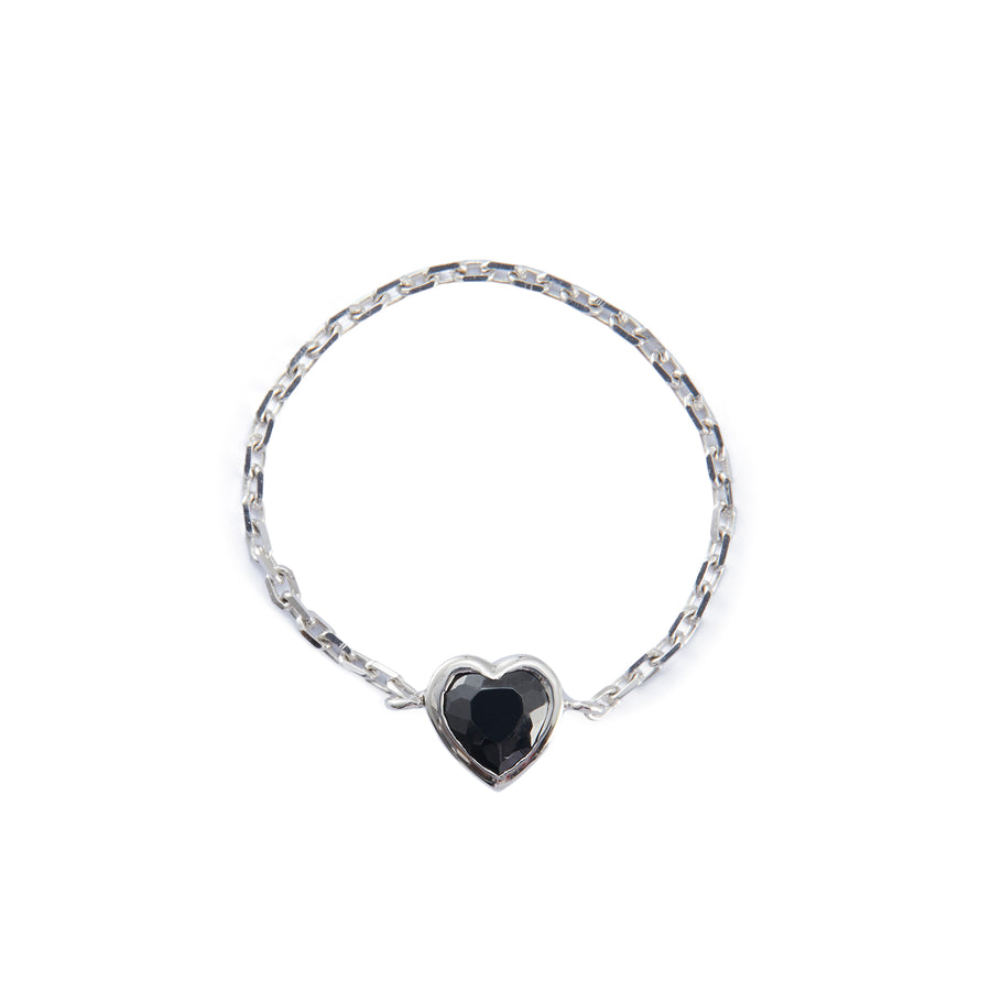 Onyx Heart Chain Ring