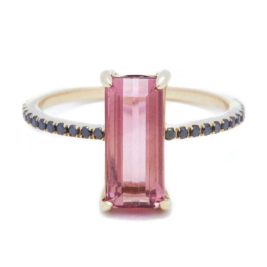 Pink Tourmaline & Black Diamonds Ring