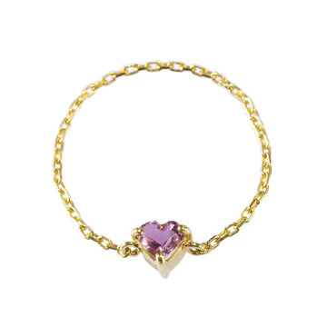 Pink Sapphire Heart Chain Ring