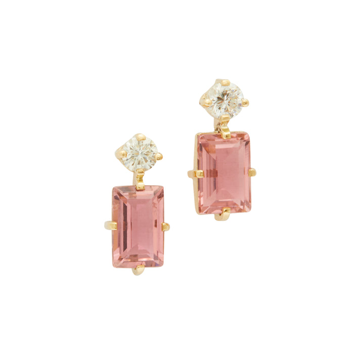 Pink Tourmaline &  Diamond Deco Earrings