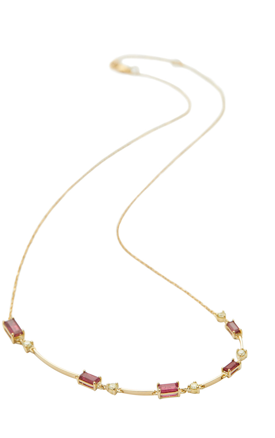 Ruby & Canary Yellow Diamond Bar Necklace