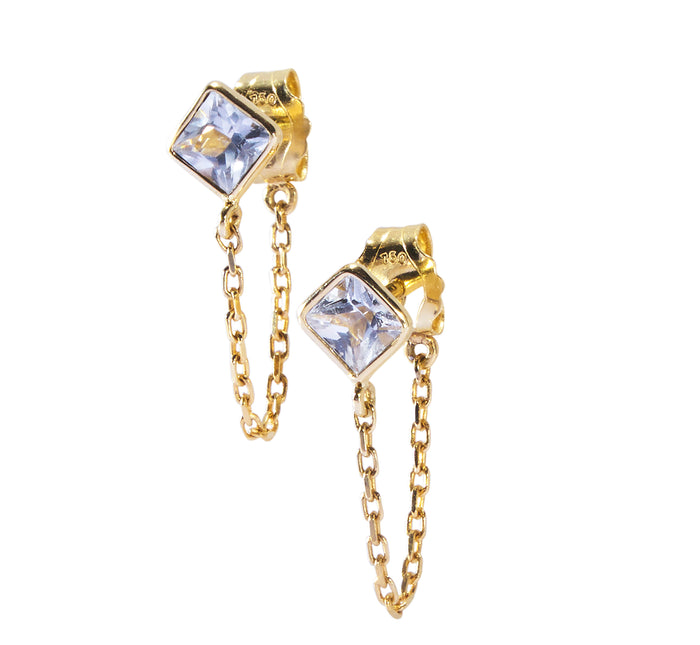 Sapphire chain earrings