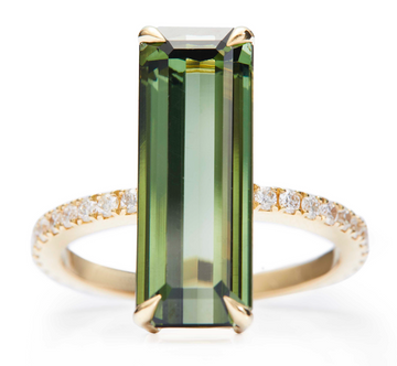 Green Tourmaline & Diamond Supreme Deco Ring