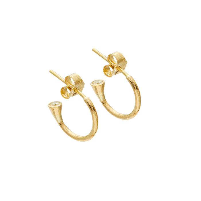 Small Canary Diamond Hoops