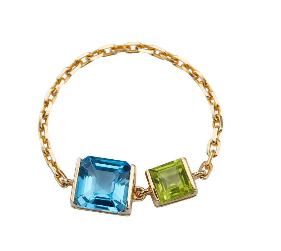 Topaz & Peridot Chain Ring