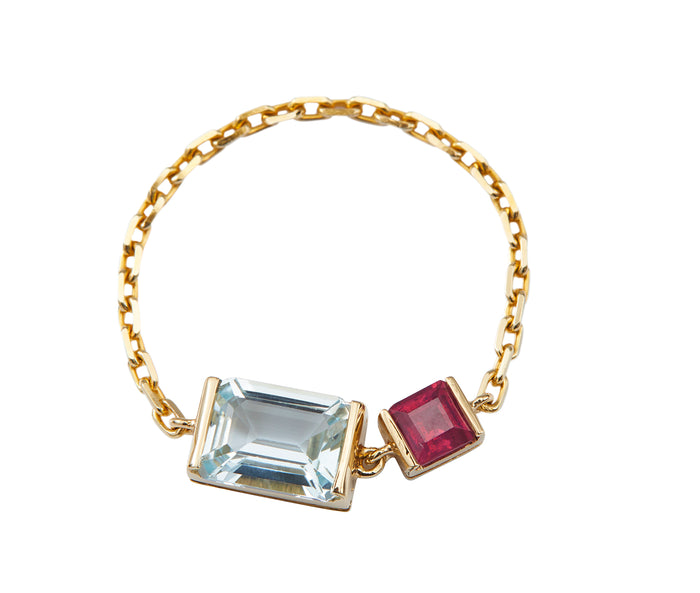 Topaz & Ruby Chain Ring