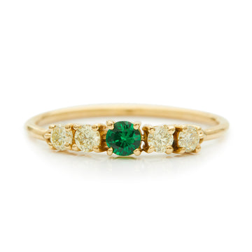 Tsavorite & Canary Yellow Diamond Flexi Ring