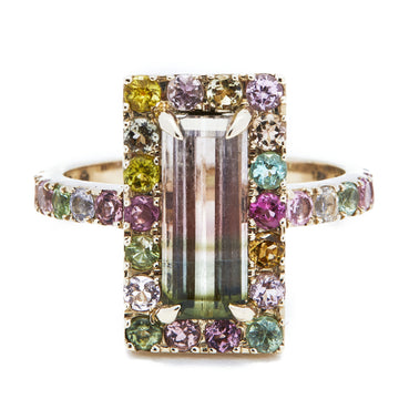 Tourmaline rainbow deco Ring