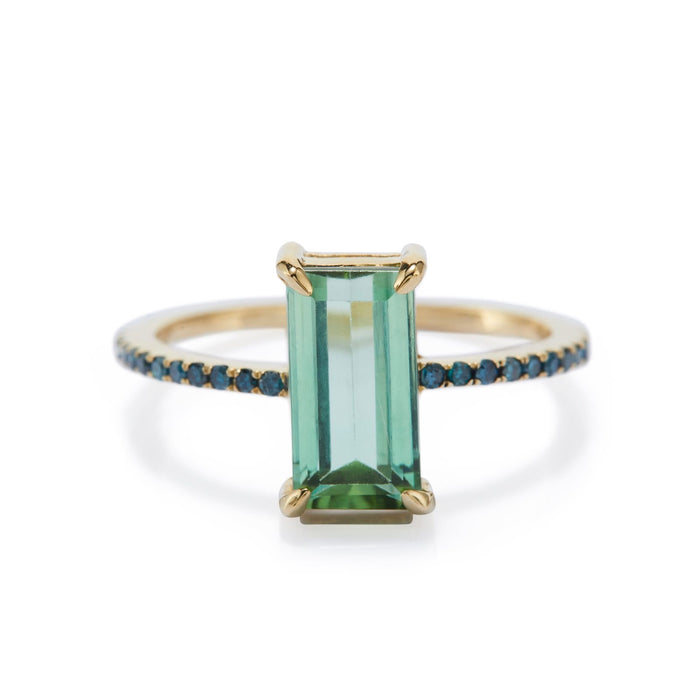 Tourmaline and blue diamond deco ring