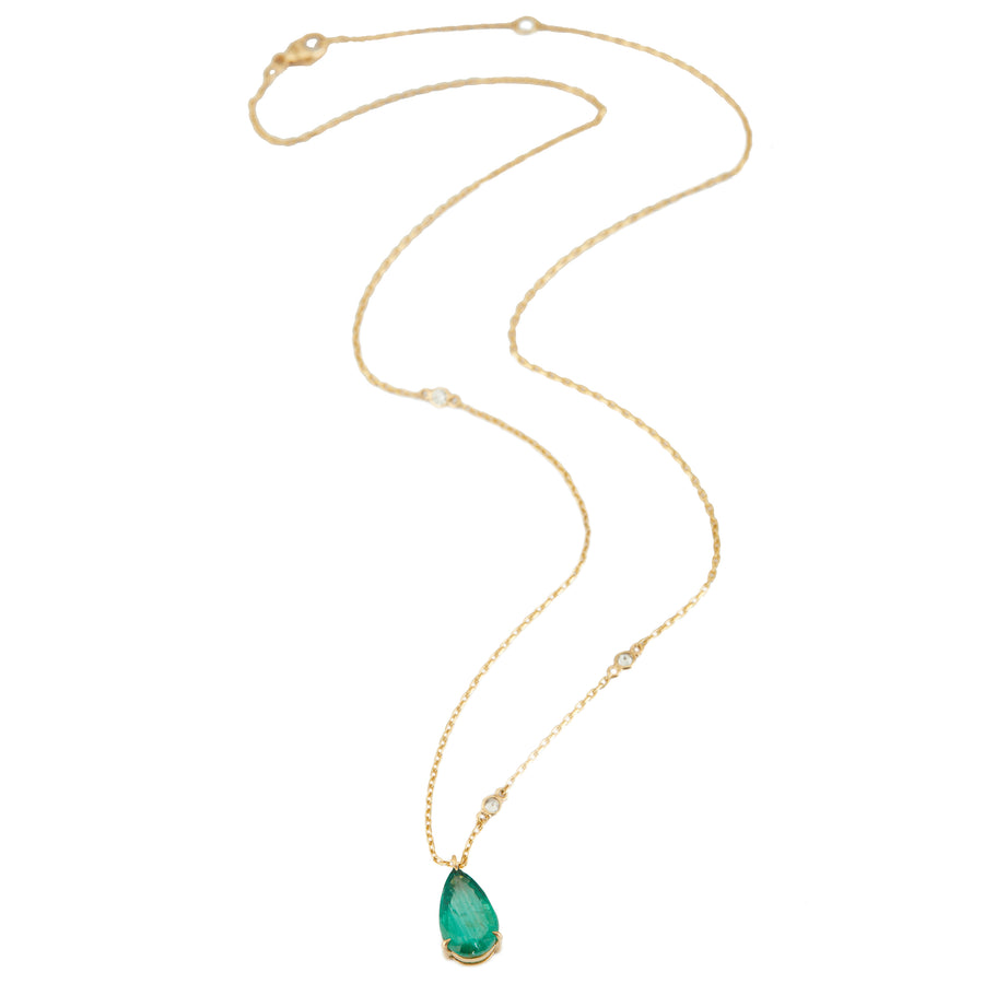 Emerald Dewdrop Supreme Pendant with Diamond Necklace